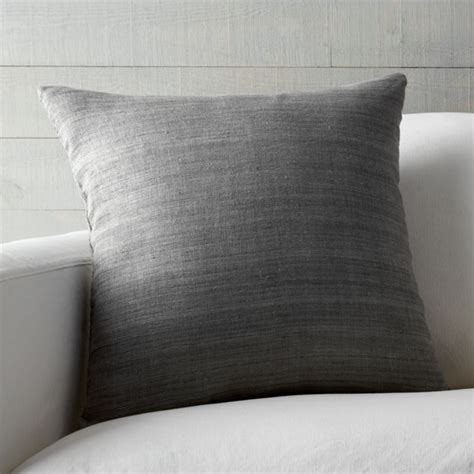 Grey Silk Pillow   Crate and Barrel