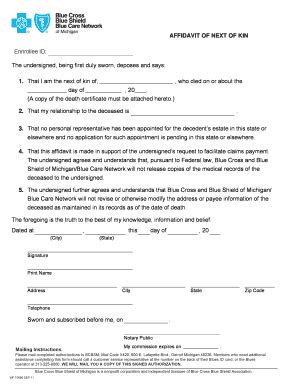 Next Of Kin Form Template by Affidavit Of Kinship Form Fill Printable