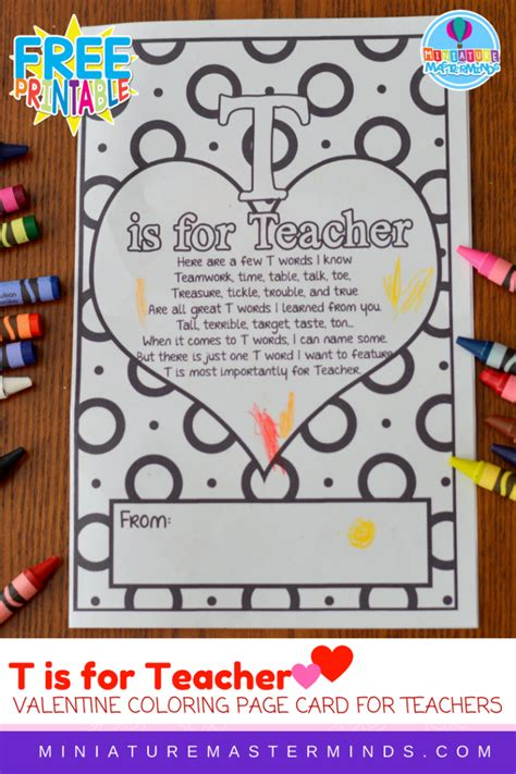 t is for coloring page or s 498 | T is For Teacher Coloring Page Card For Teachers 1