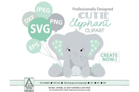 Get yours from +432 possibilities. Baby Elephant Clipart in Mint SVG ~ Illustrations ...