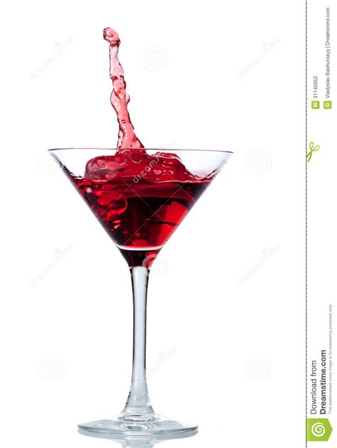 red martini red cocktail with splash isolated on white stock photo