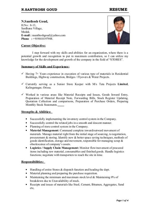 store keeper resume format in word resume 2014
