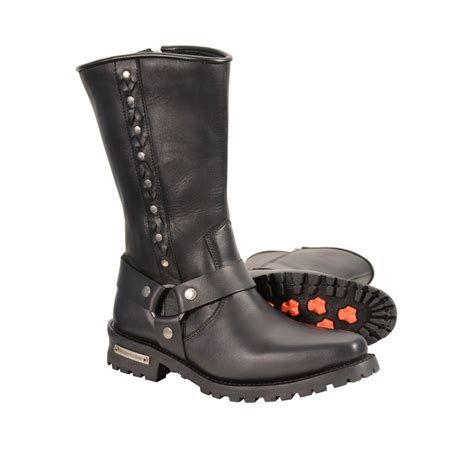 real biker boots men s real leather j toe motorcycle harness boots w