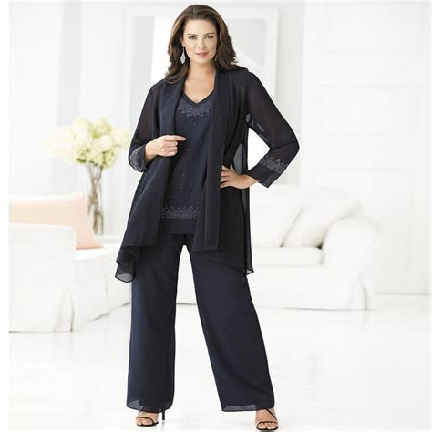 Cheap Navy Mother Of The Bride Pant Suits Elegant 3 Piece