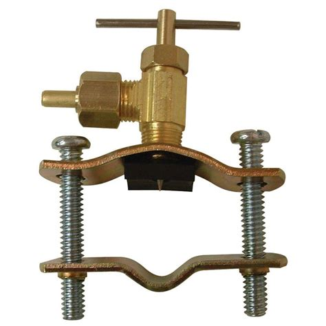 saddle valve tap pipe self brass compression plumbing everbilt insert lead poly water line clamp inches tube valves pro handyman