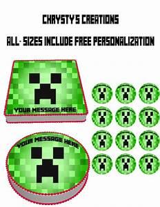 Minecraft Theme Edible Cake Topper via Etsy | Minecraft ...
