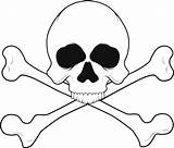 Skull Pages Coloring Bones Printable Crossbones Skulls Clip Clipart sketch template
