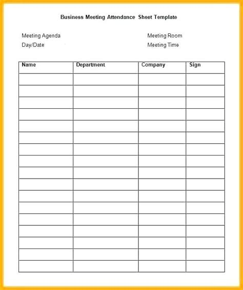 business meetings attendance sheet template attendance