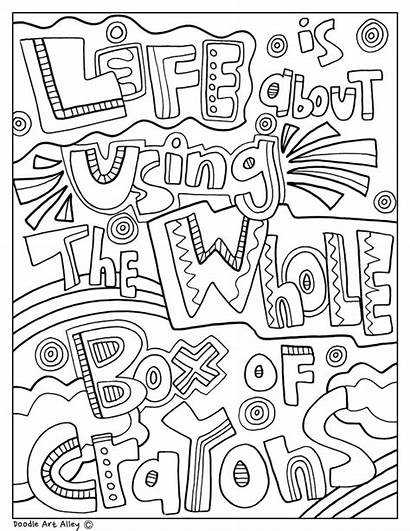 Quotes Doodle Coloring Pages Quote Alley Motivational