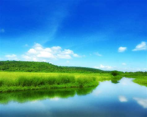 green field  blue sky scenery hd wallpapers preview