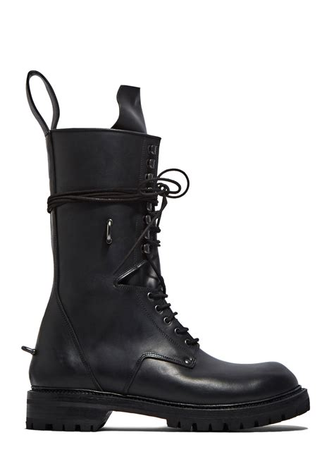 Rick Owens Men Elastic Long Chunky Lace Boots