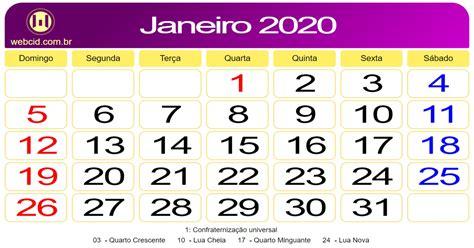 calendario de janeiro de webcid