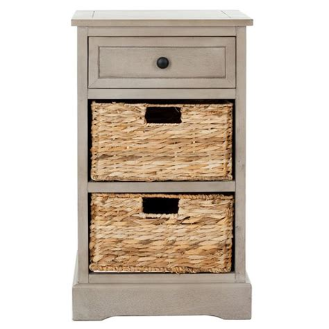 side table with baskets accent table or night stand with wicker baskets boxes
