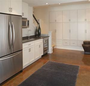 Kid friendly basement kitchenette contemporary for Kitchen cabinets lowes with basement wall art ideas