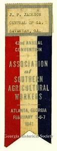 A-1572-005, Badge, J. F. Jackson's name badge and ribbon ...