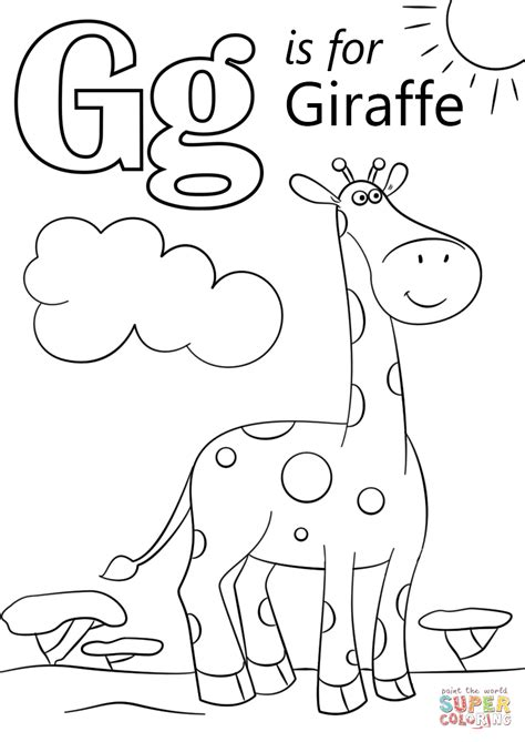 Coloring Letter G by Letter G Is For Giraffe Coloring Page Free Printable