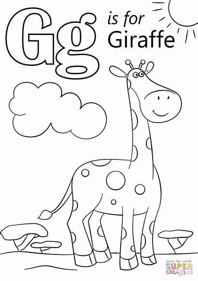 Letter Coloring Giraffe Pages Preschool Printable Worksheets