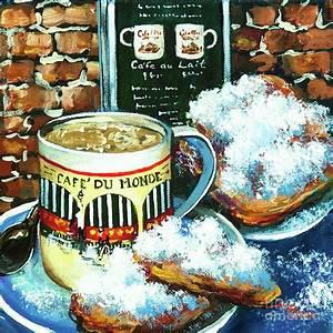 Café Au Lait : beignets and cafe au lait painting by dianne parks ~ Carolinahurricanesstore.com Idées de Décoration