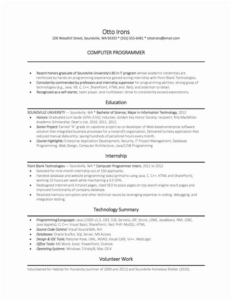 exle of resume for computer science student exle