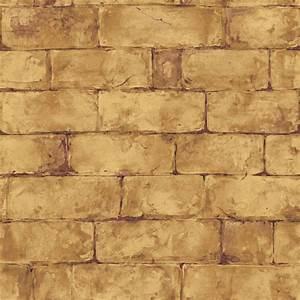 The Wallpaper Company 56 sq. ft. Brown Earth Tone Brick ...