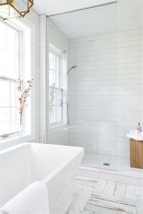 glass shower partition  walk  shower transitional