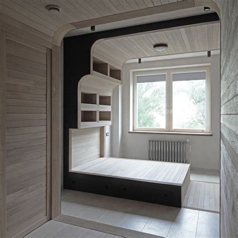 floor shelves for bedroom apartment by kostelov located in moscow russia