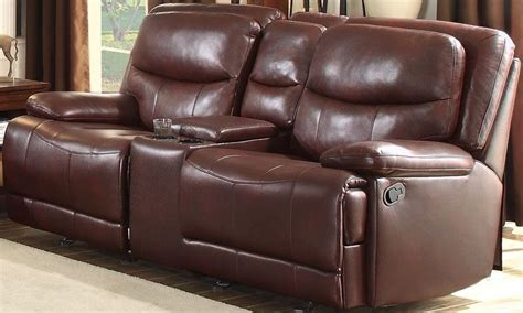 Glider Reclining Loveseat With Console by Risco Burgundy Glider Reclining Console Loveseat