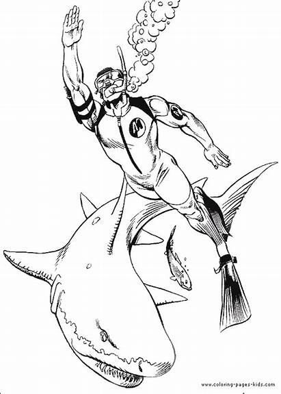 Coloring Pages Shark Action Diving Printable Boys