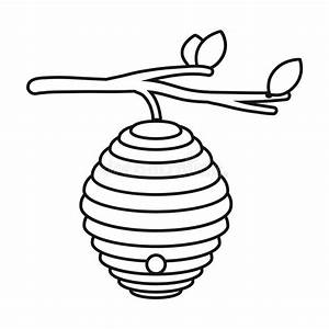 Beehive Icon In Outline Style Isolated On White Background ...