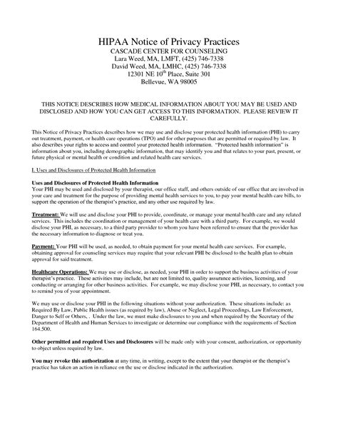 Notice Of Privacy Practices Template by 10 Best Images Of Privacy Notice Template Hipaa Notice