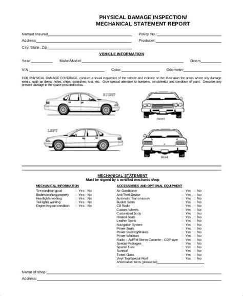 sample templates sample vehicle inspection form  examples