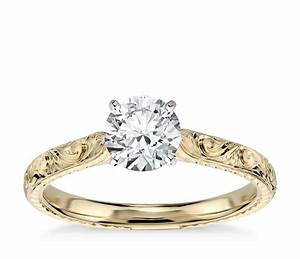 Cubic zirconia engraved solitaire engagement ring in 14k for Engravings on wedding rings