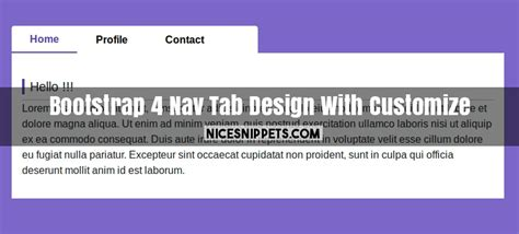 bootstrap  nav tab design  customize