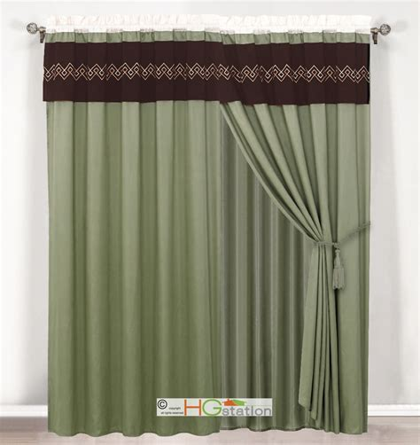 green valance 4p southwest embroidery curtain set green