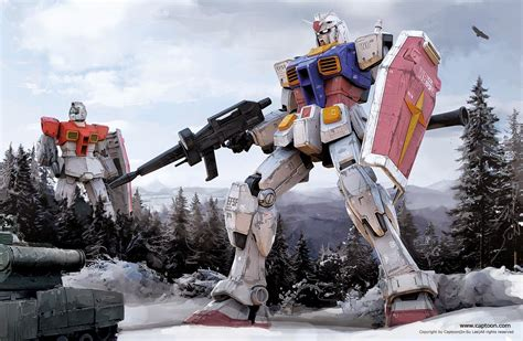 Rx-78-2 Gundam And Rgm-79 Gm Wallpaper