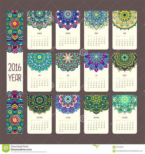calendar mandalas stock vector illustration element