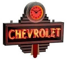 Art Deco Chevrolet Dealership Sign neon