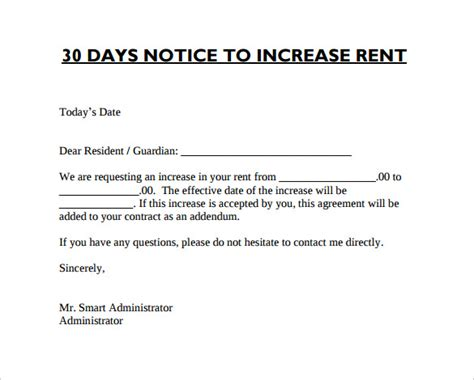 sample rent increase notice   documents   word