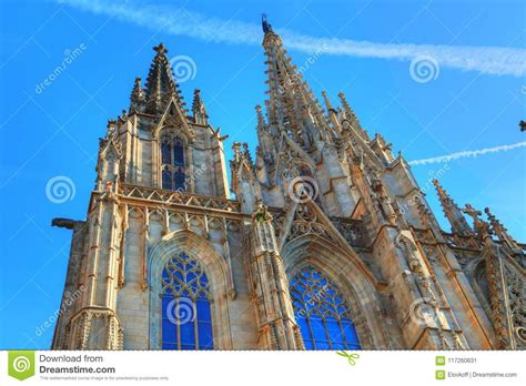 Famous Barcelona Cathedral At Sunset Stock Image - Image ...