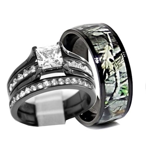 his and hers 925 sterling silver titanium camo wedding rings black rwc06sp26b wedding