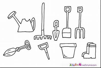 Tools Coloring Garden Pages Utensils Drawing Gardening