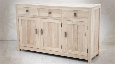 meuble cuisine 45 cm profondeur enfilade 3 portes et 3 tiroirs en bois massif finition brut