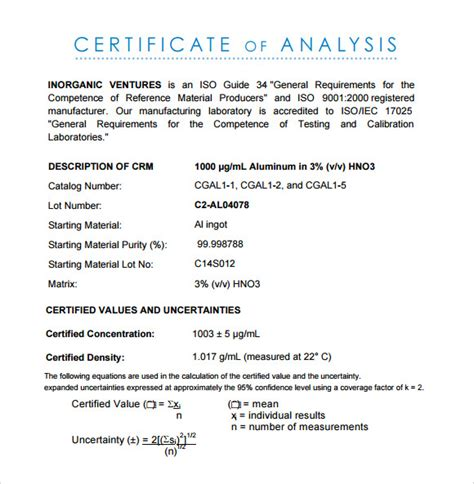 certificate  analysis template ai psd google
