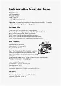 resume exle for instrumentation engineering resume sles instrumentation technician resume sle