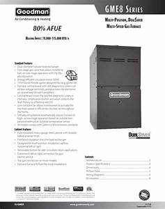 Goodman Mfg Ss Gme8 Users Manual