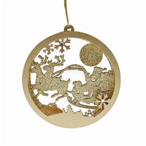 gisela graham gold glitter 3d santa sleigh disc