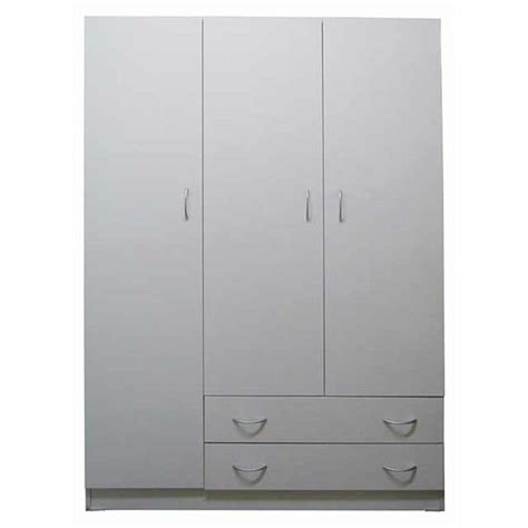 White Clothes Cupboard by Riteway 3 Door 2 Drw Budget Melamine Timber White Clothes