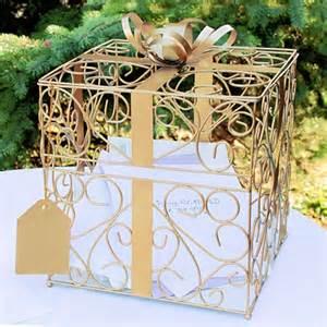 wedding gift card gold matte metal scroll wedding gift card box