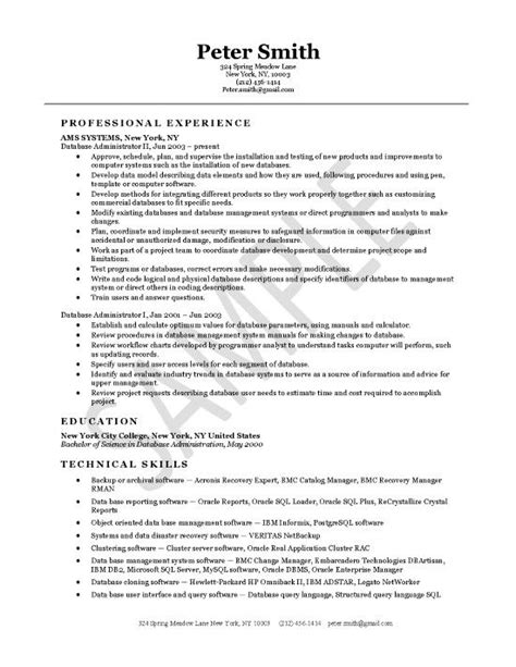 Resume Database by Database Administrator Resume Exle Resume Exles