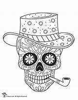 Coloring Sugar Skulls Pages Skull Adult Printable Dead Sheets Colouring Books Halloween Mandala Candy Drawing Woojr Easy Roses Template Cat sketch template